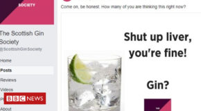 Gin society rapped over Facebook adverts