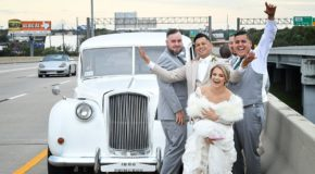 Newlyweds photographed on highway after car breaks down heading to reception